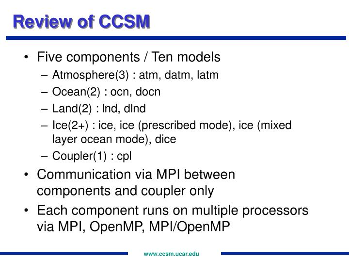 Review of CCSM