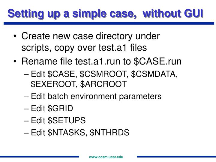 Setting up a simple case,  without GUI