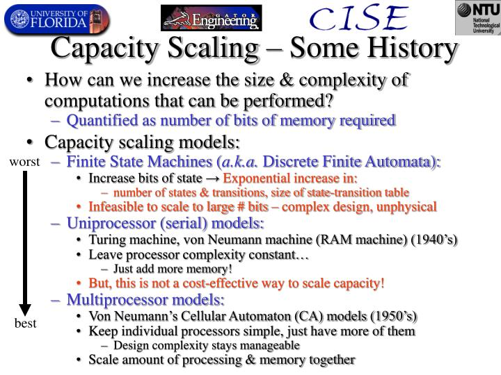 Capacity scaling some history