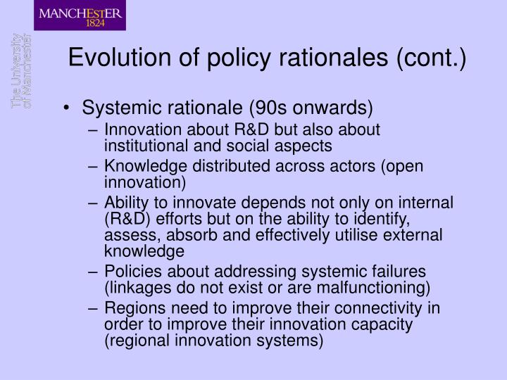 Evolution of policy rationales (cont.)