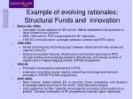 example of evolving rationales structural funds and innovation