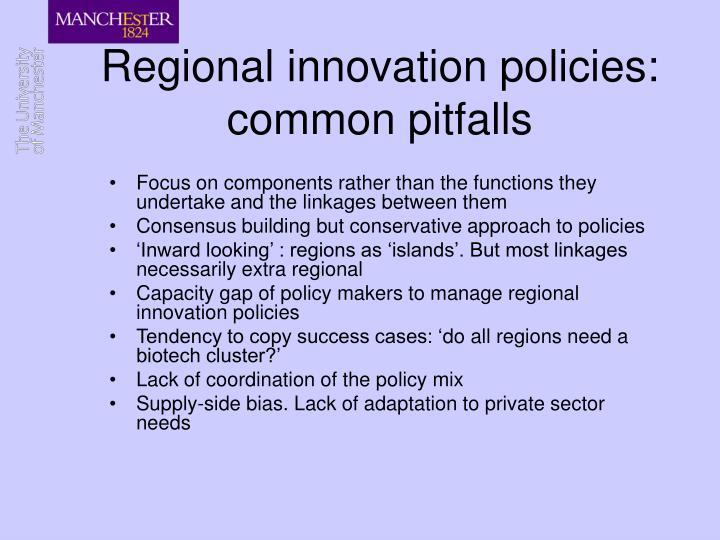 Regional innovation policies: common pitfalls