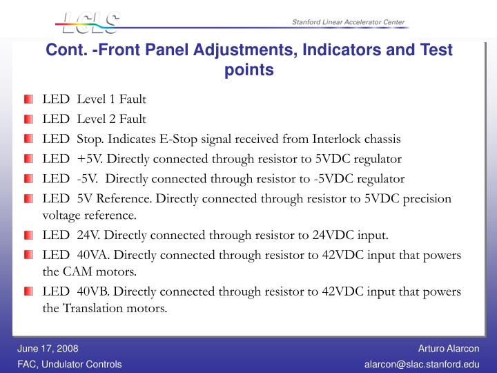 Cont. -Front Panel Adjustments, Indicators and Test points