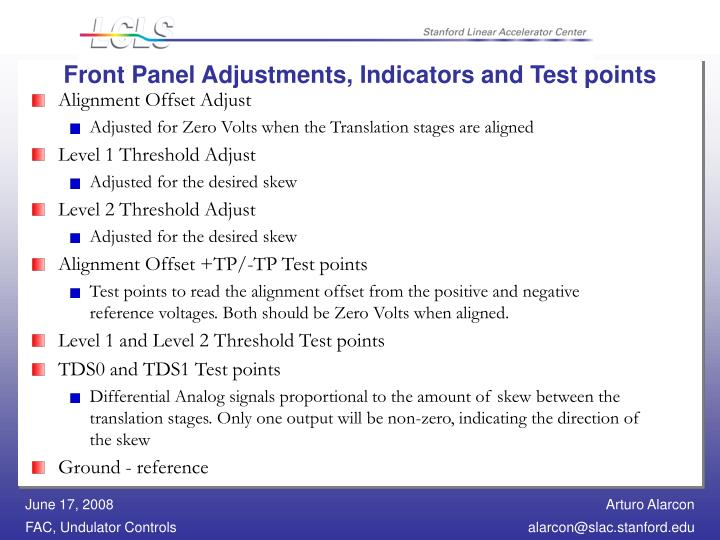 Front Panel Adjustments, Indicators and Test points