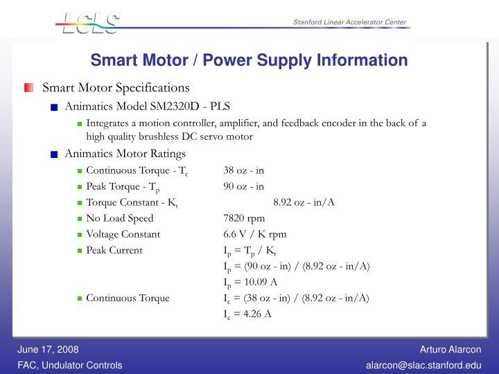 Smart Motor / Power Supply Information