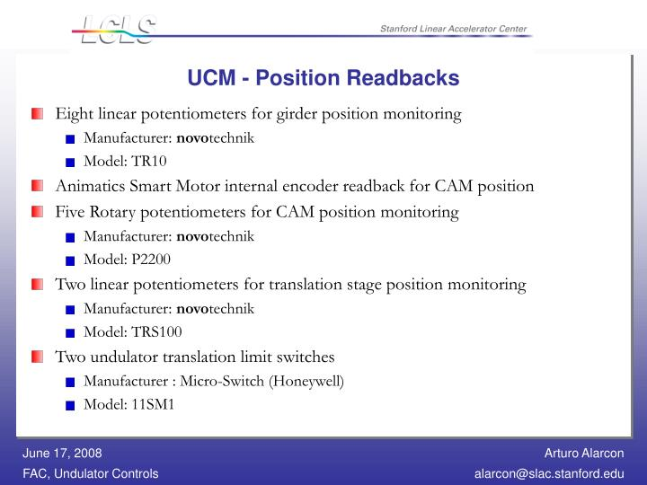 UCM - Position Readbacks