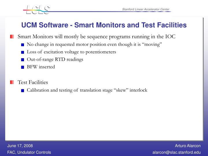 UCM Software - Smart Monitors and Test Facilities