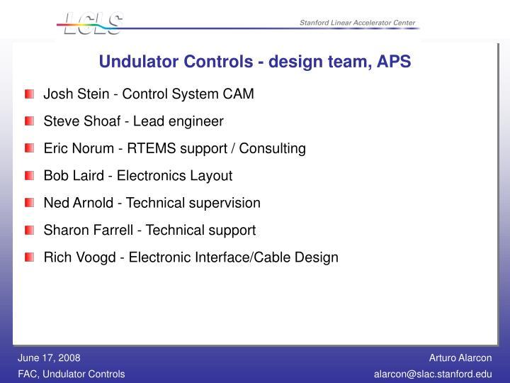 Undulator Controls - design team, APS