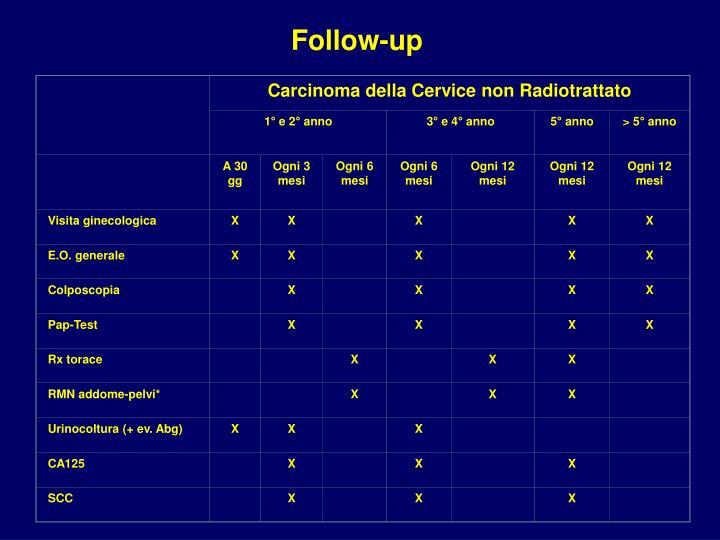 Carcinoma della Cervice non Radiotrattato