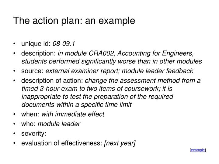 The action plan: an example