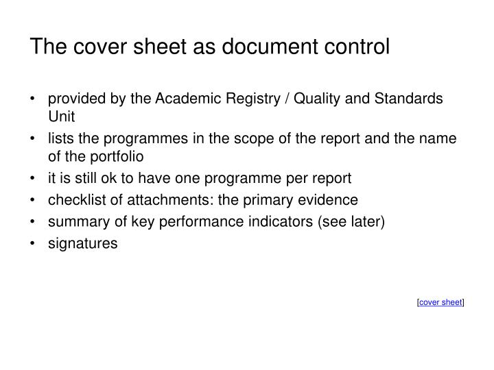 The cover sheet as document control
