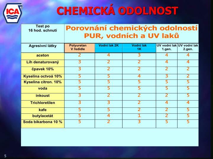 CHEMICKÁ ODOLNOST