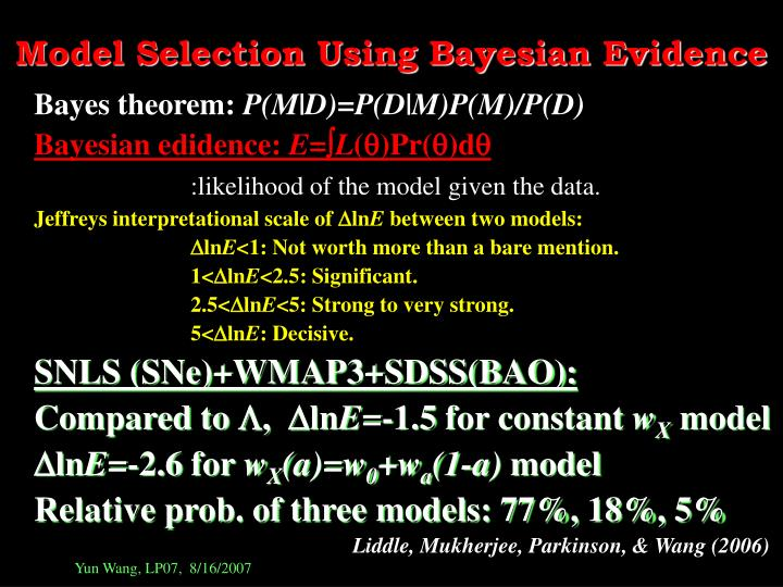 Model Selection Using Bayesian Evidence