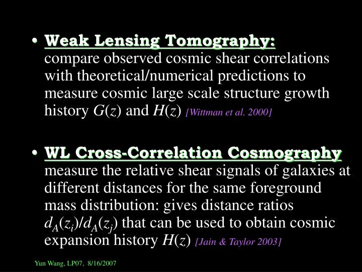 Weak Lensing Tomography: