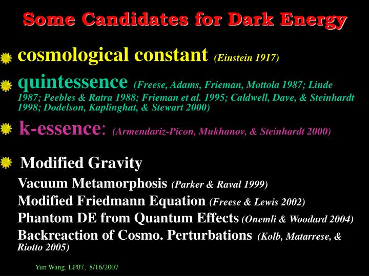 Some Candidates for Dark Energy