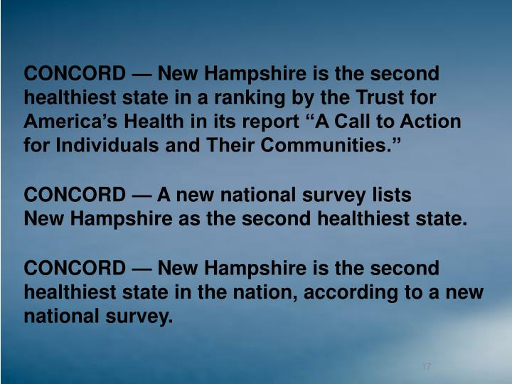 """CONCORD — New Hampshire is the second healthiest state in a ranking by the Trust for America's Health in its report """"A Call to Action for Individuals and Their Communities."""""""