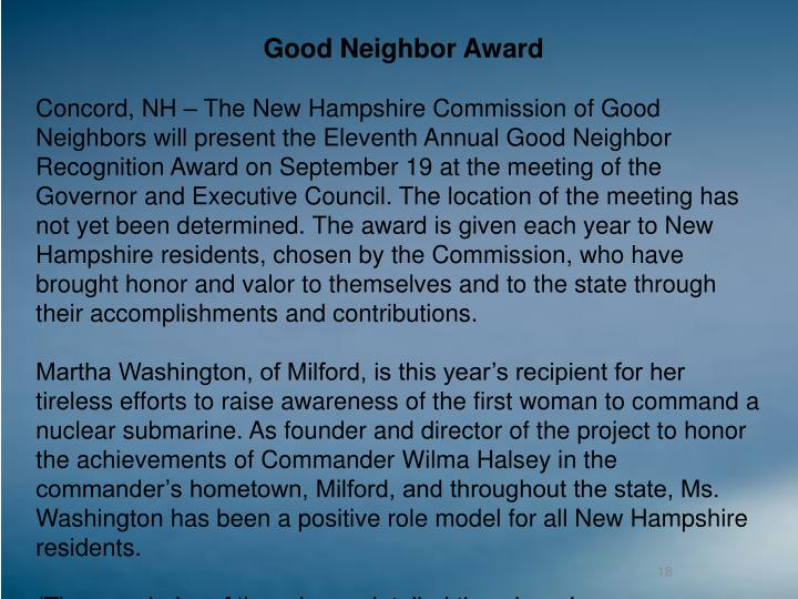Good Neighbor Award
