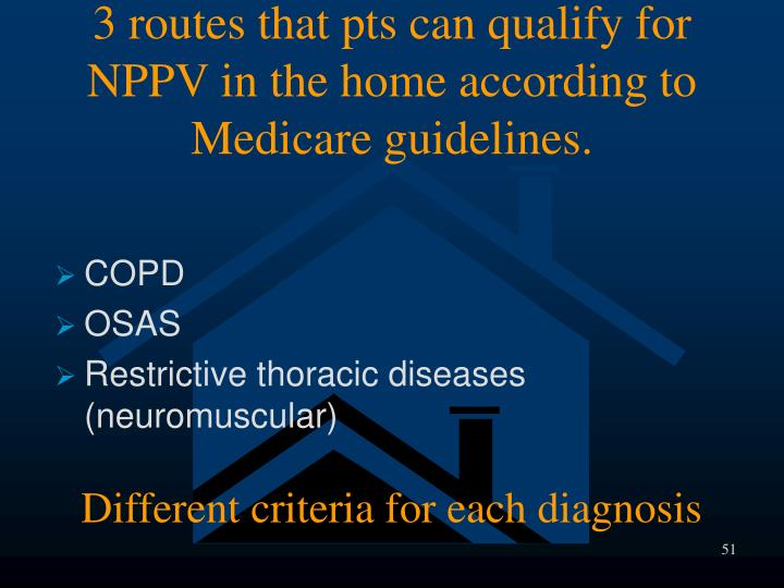 3 routes that pts can qualify for NPPV in the home according to Medicare guidelines.