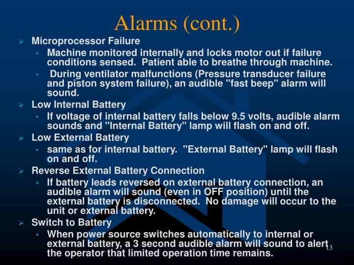Alarms (cont.)