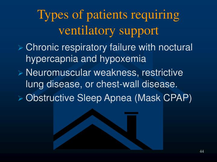 Types of patients requiring ventilatory support