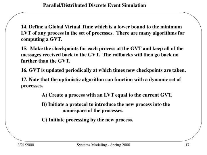 14. Define a Global Virtual Time which is a lower bound to the minimum
