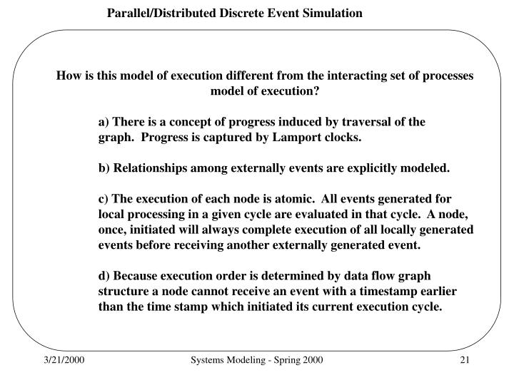 How is this model of execution different from the interacting set of processes model of execution?