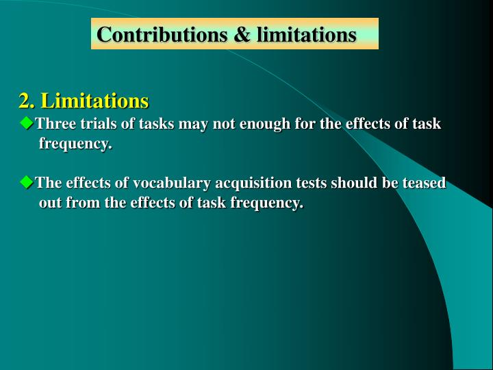 Contributions & limitations