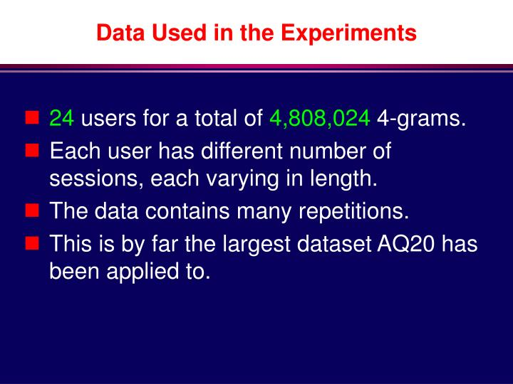 Data Used in the Experiments