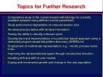 topics for further research