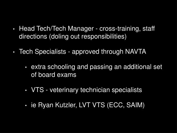Head Tech/Tech Manager - cross-training, staff directions (doling out responsibilities)