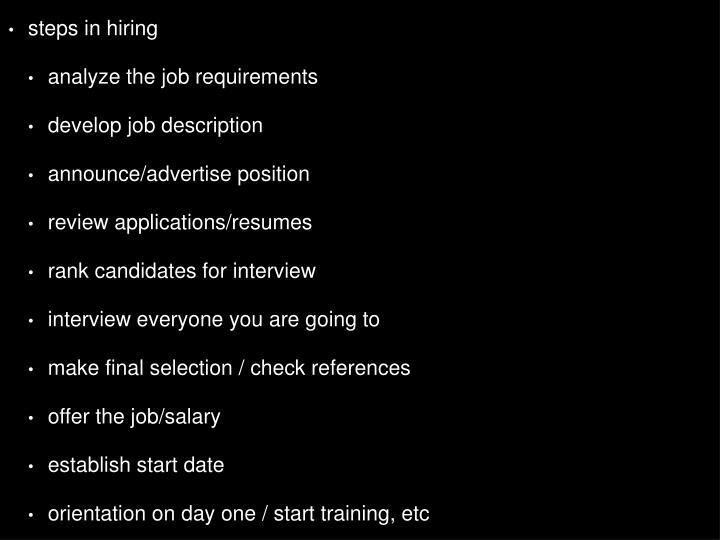 steps in hiring