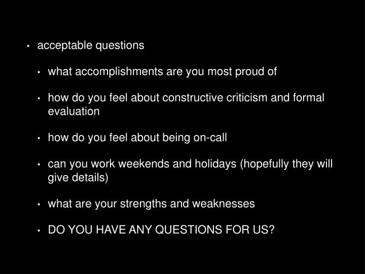 acceptable questions