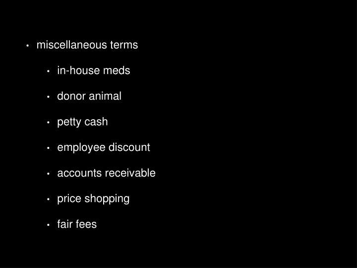 miscellaneous terms