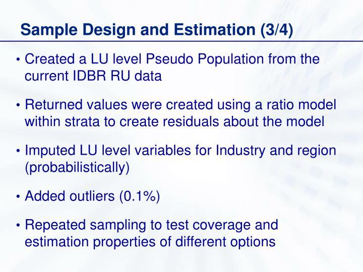 Sample Design and Estimation (3/4)
