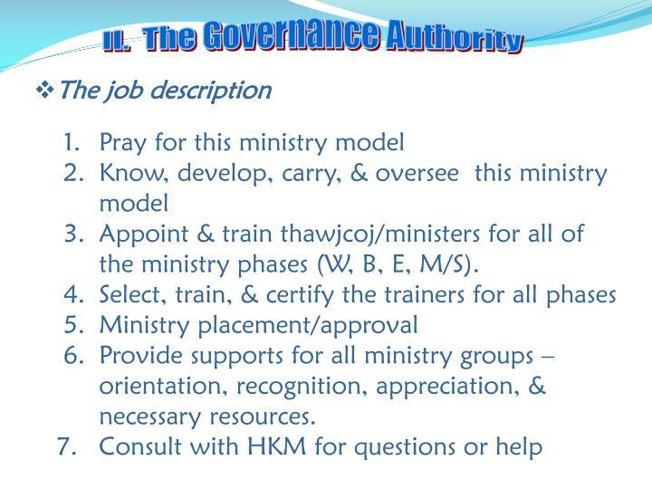 II.  The Governance Authority