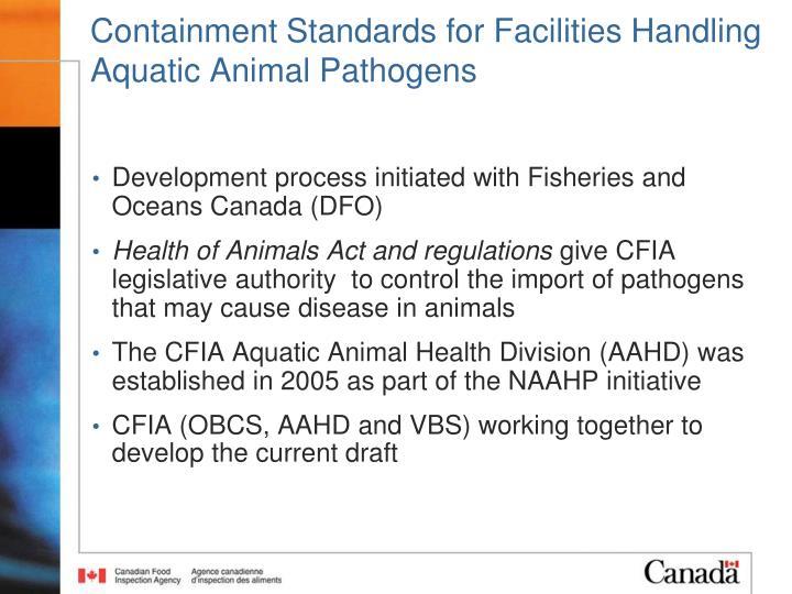 Containment Standards for Facilities Handling Aquatic Animal Pathogens