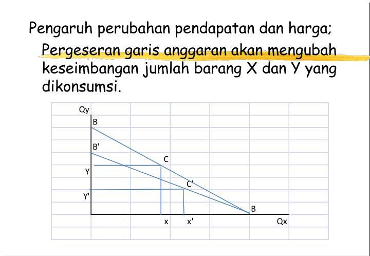 Pengaruh perubahan pendapatan dan harga;