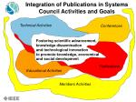integration of publications in systems council activities and goals