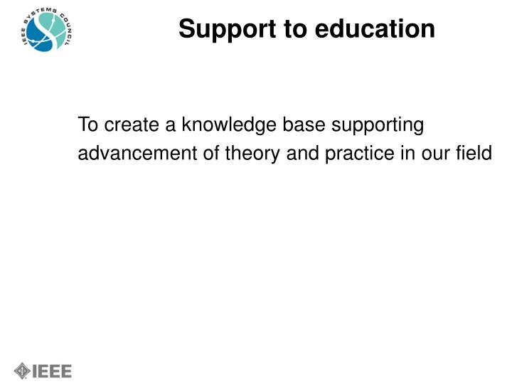Support to education