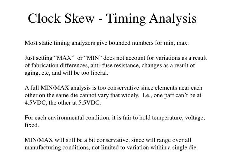 Clock Skew - Timing Analysis