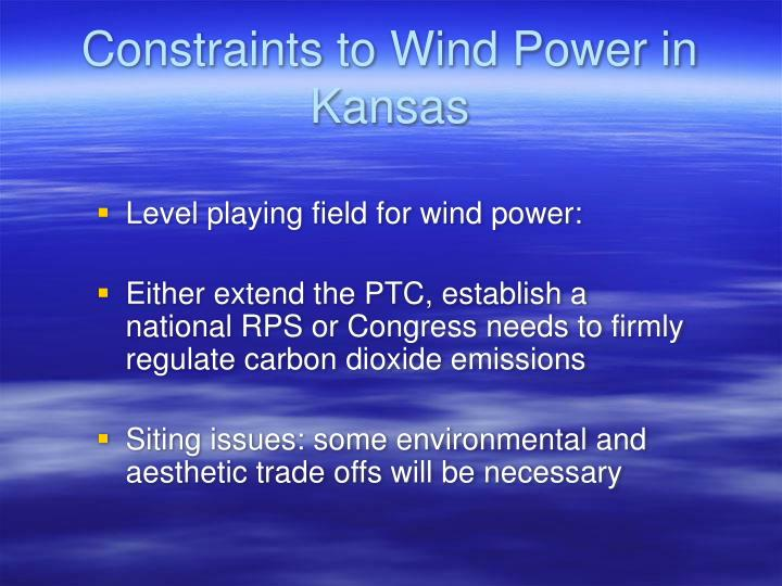 Constraints to Wind Power in Kansas