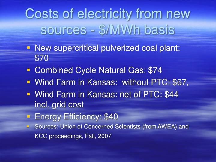Costs of electricity from new sources - $/MWh basis