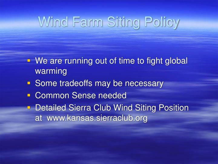 Wind Farm Siting Policy