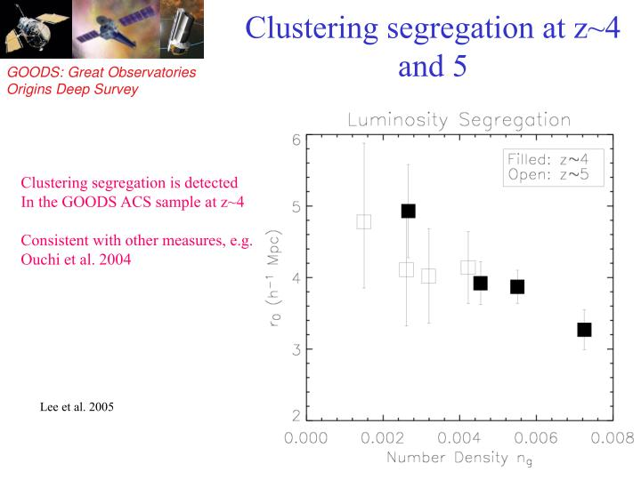 Clustering segregation at z~4 and 5