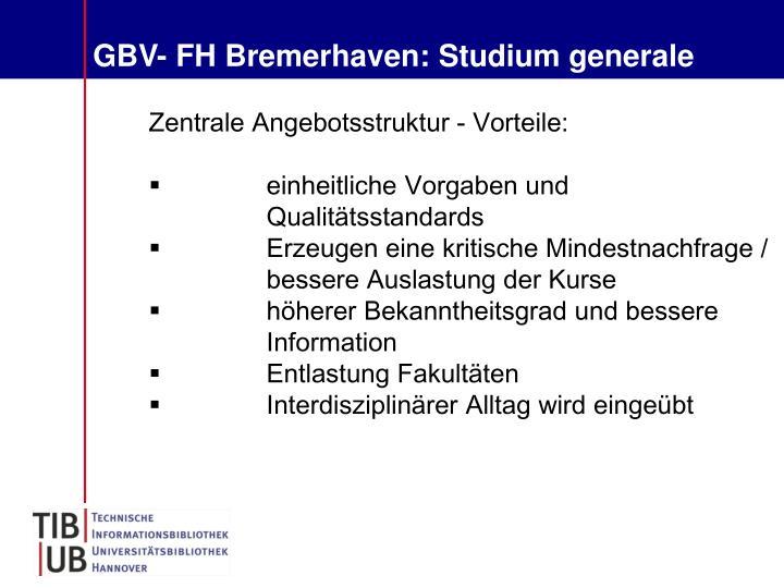 GBV- FH Bremerhaven: Studium generale