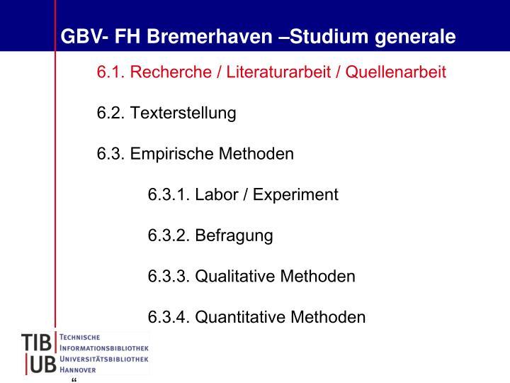 GBV- FH Bremerhaven –Studium generale