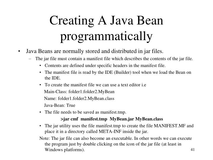 Creating A Java Bean programmatically
