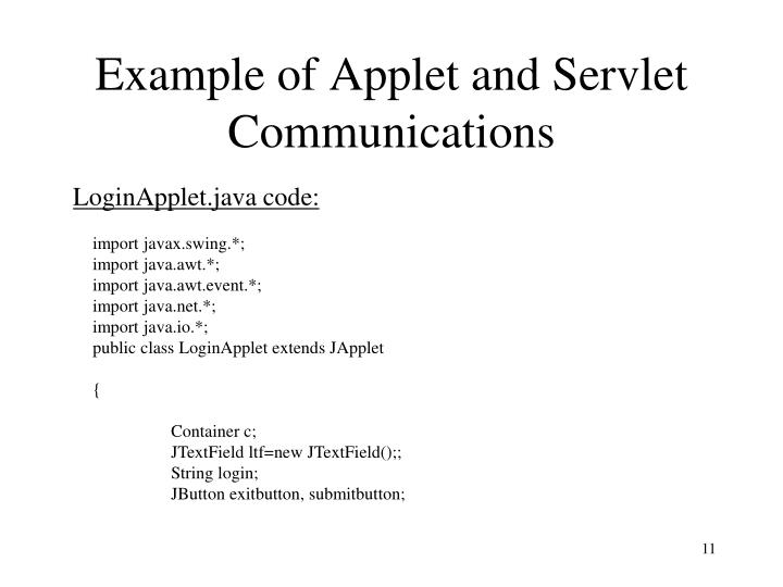 Example of Applet and Servlet Communications