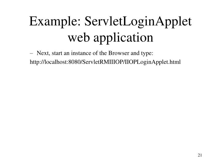 Example: ServletLoginApplet web application