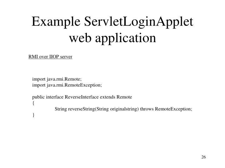 Example ServletLoginApplet web application